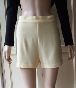 American-Apparel-Crepe-Side-Button-Shorts-Pale-Pastel-Yellow-Size-M