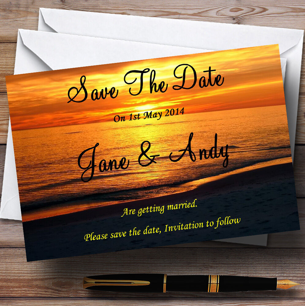 Beach At Sunset Romantic Abroad Personalised Wedding Save The Date Cards