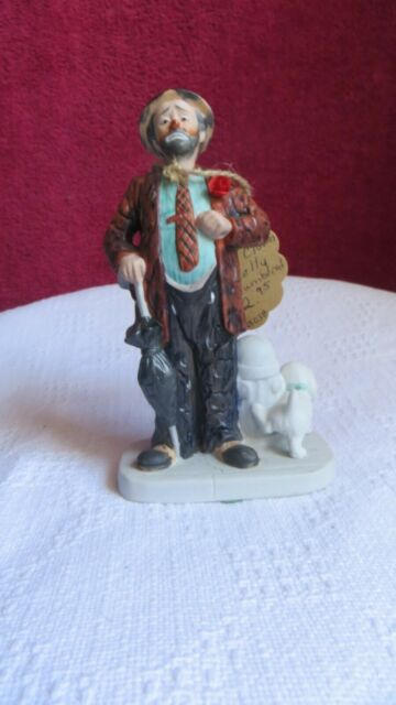 Vintage Ceramic Emmett Kelly Signed Hobo Clown w/ Dog Peeing On Hydrant # 3211