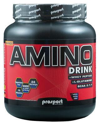 (58,31 €/1kg) Prosport Amino Drink, Bcaa, Proteina 600g Lattina, Arancione, + Shaker-