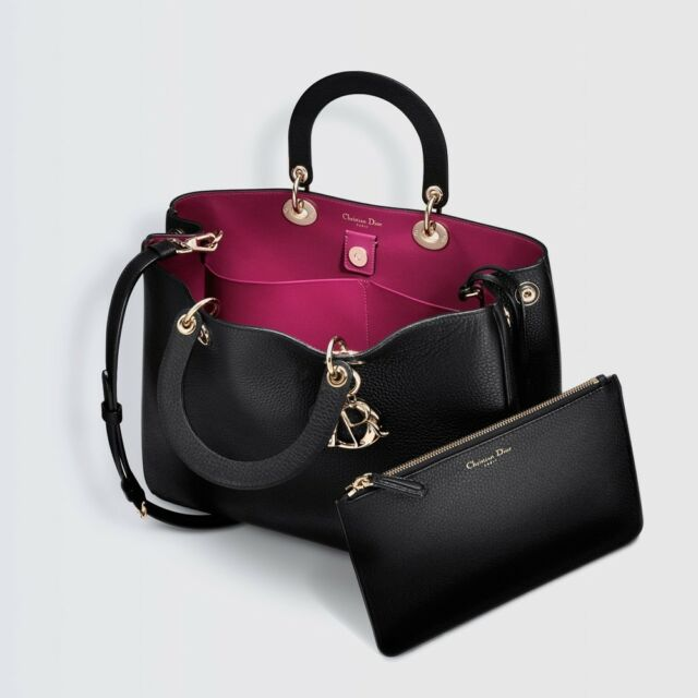 Dior Medium Diorissimo Black Taurillon Grained Leather Handbag Bag