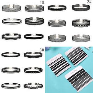 6Pcs-Set-Gothic-Punk-Velvet-Lace-Collar-Choker-Pendant-Necklace-Chain-Jewelry