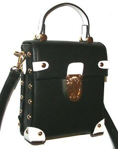 shop for genuine great fit large assortment Details about ISABELLE Black/White Vegan Handbag Shoulder bag Crossbody NWT