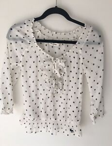 Abercrombie-And-Fitch-Girls-Ivory-With-Polka-Dots-Fancy-Shirt-Kids-Size-XL-New