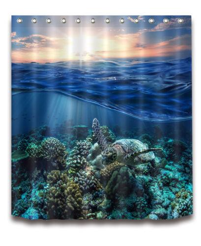 "72//79/""Bath Fabric Waterproof Shower Curtain+Mat Rug+12Hook-Sun Sea Turtle 4085"