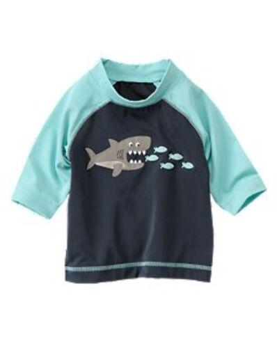 NWT Gymboree Shark Fish Snack Time Rash Guard Swim Shirt Rashguard NEW 18-24 mos