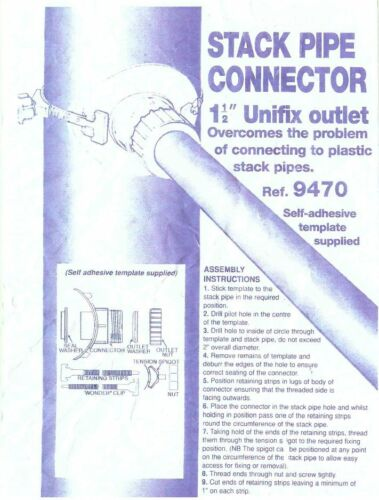 Universal Stackpipe Connector Strap on Boss for Soil Pipe Plastic or Cast Iron