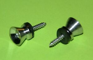 1-Pair-of-Guitar-Strap-Buttons-Metal-Chrome-with-screws-and-black-washers