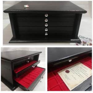 Monetiere-Medagliere-5-Cassetti-Artigianale-colore-NERO-Coins-amp-More-Coin-Cabinet