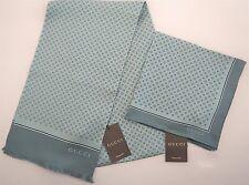 GUCCI Aqua with White Diamonds MAROIS 100% SILK Formal Scarf + Pocket Square SET