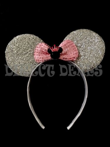 Minnie Mouse Princess Headband Minnie Crown Pendant Sparkly Silver Ears Pink Bow