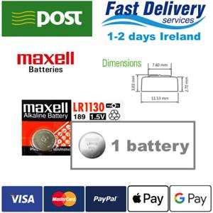 AG10 1.5V MAXELL Lithium Coin Button Cell Battery 189, LR1130, LR54, SR1130W
