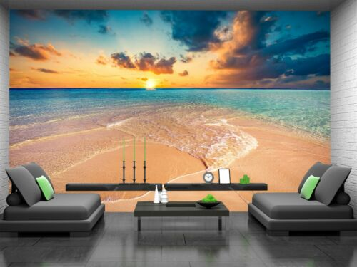 Tropical Beach Ocean  Photo Wallpaper Wall Mural DECOR Paper Poster Free Paste