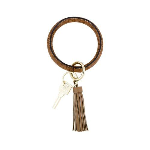 Boho Chic Bangles PU Leather O-ring Key Custom Circle Tassel Wristlet Keychains