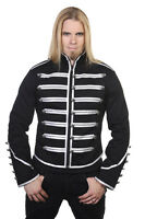 Banned Military Drummer Black Silver Gothic Lines Buttons Men's Jacket S M L Xl