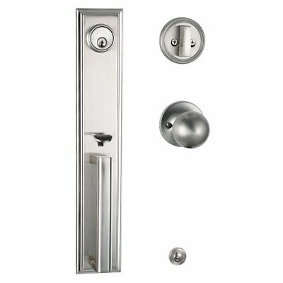 Satin Nickel Front Door Handleset With Deadbolt Handed Knob For Exterior Door