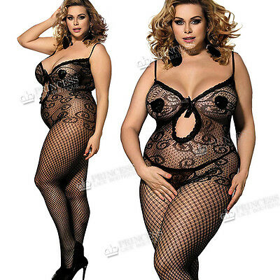 485a3197b6 Plus+ size UK 16 18 20 22 24 26 Bodystocking Lingerie Fishnet Curvy Ladies  Bow