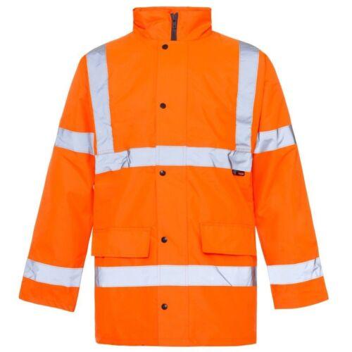 HI VIZ Two 2 Tone Parka Jacket Visibility Security Work Waterproof Coat Hi Vis