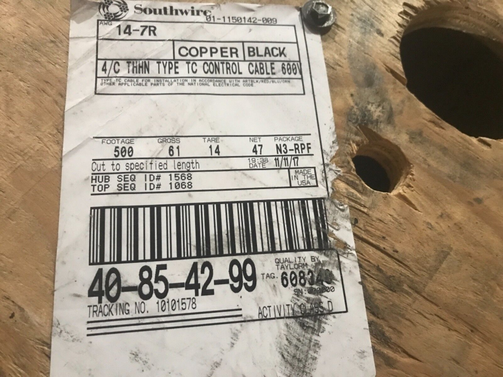 Southwire - 14-7R CU 4 C THHN Type TC Control Cable, 500 FEET