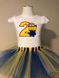 Image Is Loading Minion Birthday Shirt Tutu Outfit Set Party EMBROIDERED