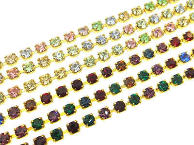 Austrian Crystal Rhinestone Chain - 2.5mm Light Multi or Dark Multi 3 Feet