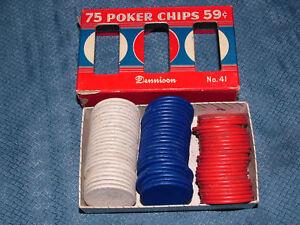VINTAGE TOY DENNISON NO 41 POKER CHIPS in BOX