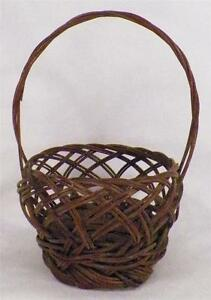 Antique Sewing Basket Wicker Brown Handle Medium Victorian Open Weave AS IS COND