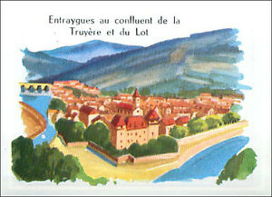 IMAGE-CARD-Entraygues-sur-Truyere-Lot-Aveyron-Lozere-Cantal-France-60s