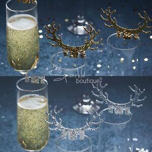 Glitter Antler Glass Decorations X10 Luxury Christmas Dinner Table