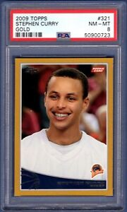2009 Topps Basketball GOLD #321 Stephen Curry ROOKIE RC  /2009      PSA 8 NM-MT