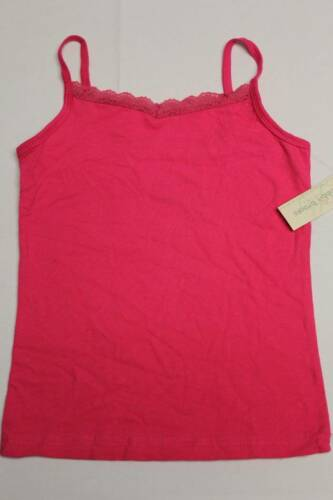NEW Girls Shirt Tank Top Size 7-8 Medium Pink Lace Sleeveless Camisole Stretch