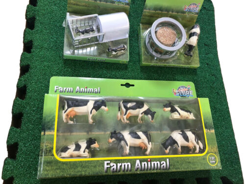 Kids Globe Farm Yard Cows Calves Play Sets + 9ft Sq Artificial Grass Play Area