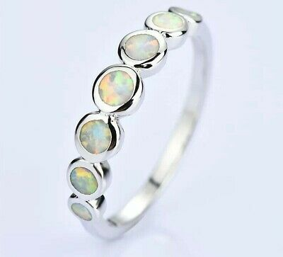 Stunning 925 Sterling Silver Natural White Fire Opal Unique Design 7 Stone Ring