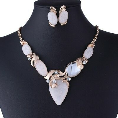 Moonstone Rhinestone Bead Gold Chain Y Pendant Necklace Earrings Set