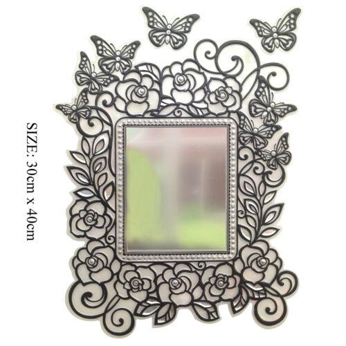 Room DIY Decor Self Adhesive Vinyl Mirror stickers Butterfly Heart Rose Black UK