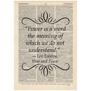 Power is a word the meaning Dictionary Print Book Tolstoy War