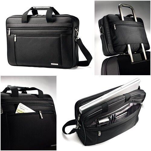 1fd8d8c069c9 Genuine Leather Expandable Briefcase Messenger Laptop Shoulder Bag  Samsonite for sale online