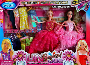 PRINCESS Double DOLL PLAY SET WITH  DRESSES GIRLS BEST Beautiful TOY gift