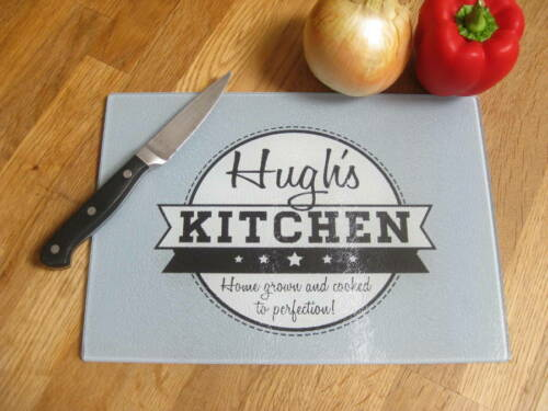 GLASS WORKTOP SAVER CHOPPING BOARD PERSONALISED WITH YOUR NAME DRAWING ETC