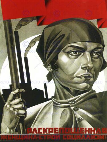 POLITICAL PROPAGANDA WOMEN SOLDIER EQUALITY SOVIET UNION COMMUNISM POSTER 1929PY