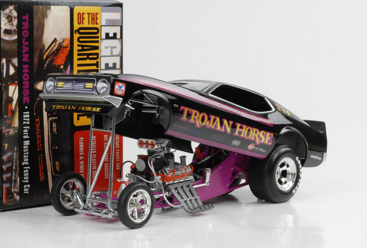 1972 Ford Mustang Trojan Horse Q- Mile Dragster Diverdeente auto 1 18 Auto World