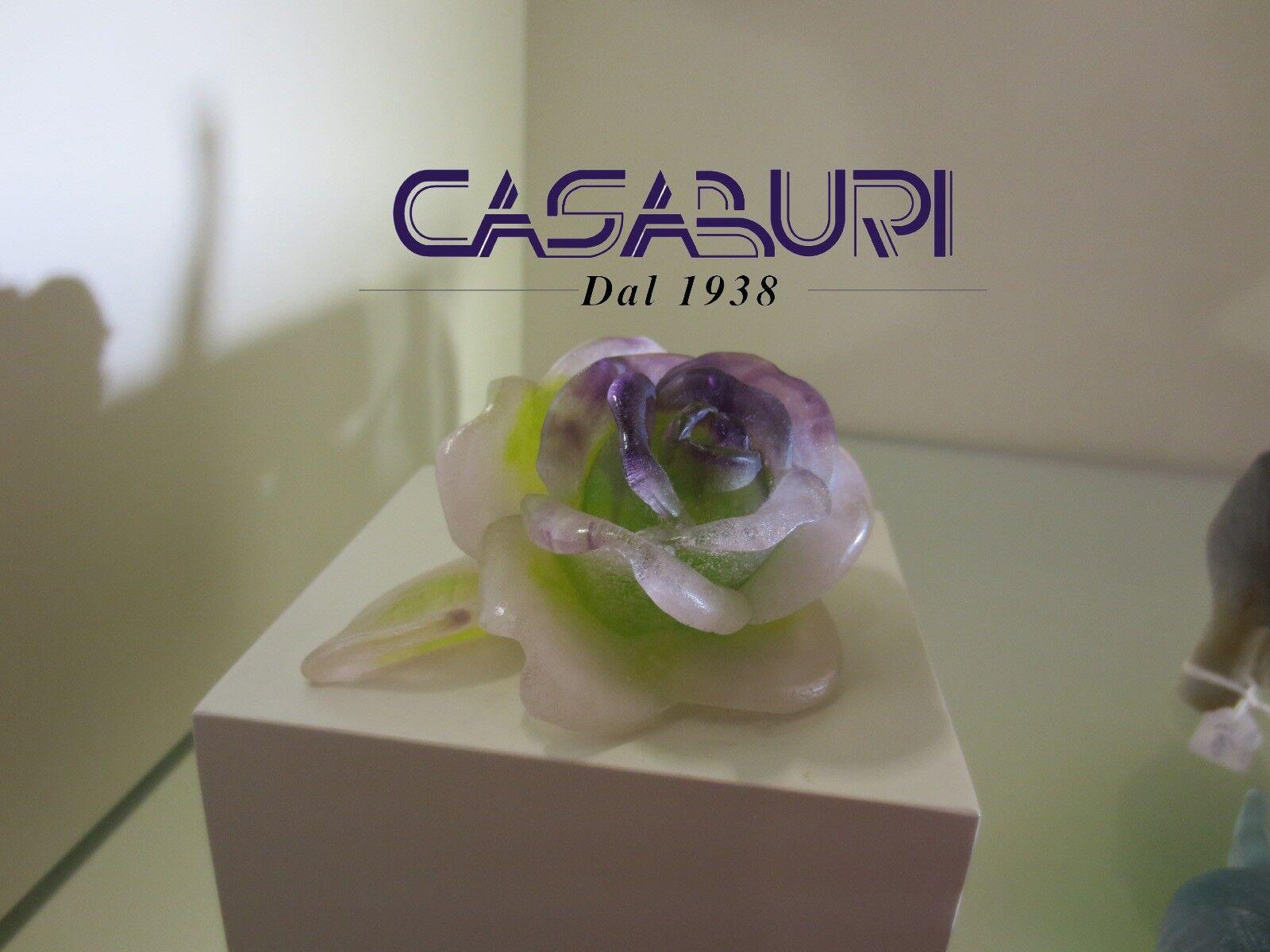 Daum Sculpture Roses Rose Violetta 10,5 cm Pate de Verre Cristal Rif.02767-2