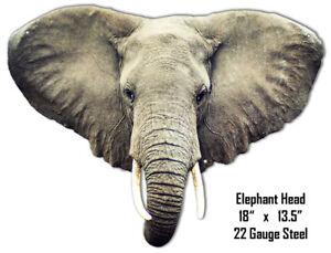 Elephant Head Animal Wall Art Laser Cut Out Metal Sign 13.5x18