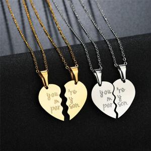 73843210c2 Image is loading Couple-Heart-Love-Girlfriend-Boyfriend-Lovers-Silver- Pendant-