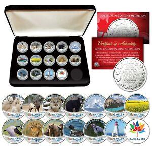 CANADA-150-ANNIVERSARY-RCM-Royal-Canadian-Mint-Medallions-WILDLIFE-Set-of-14-BOX