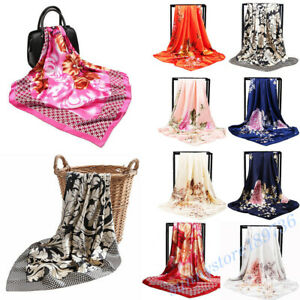 Women-039-s-Printed-Satin-Silk-Square-Scarf-Wrap-Head-Shawl-Scarves-Fashion-Acces