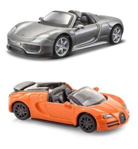 2x-Burago-1-64-Juguete-Diecast-Coche-Porsche-918-Spyde-Bugatti-Veyron-Vitesse