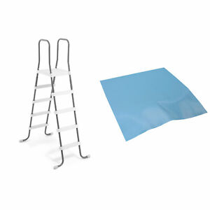 Details about Intex Steel Frame Above Ground Swimming Pool Ladder + Pool  Ladder Step Pad