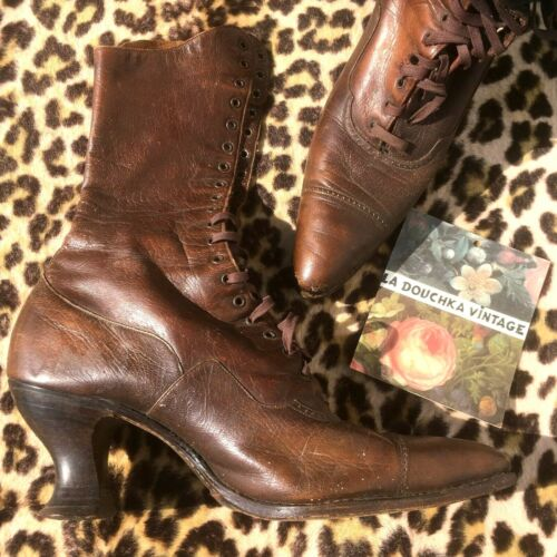 FRENCH 1920s LADY HI-TOP LEATHER BOOTS~LACE-UP~SPO