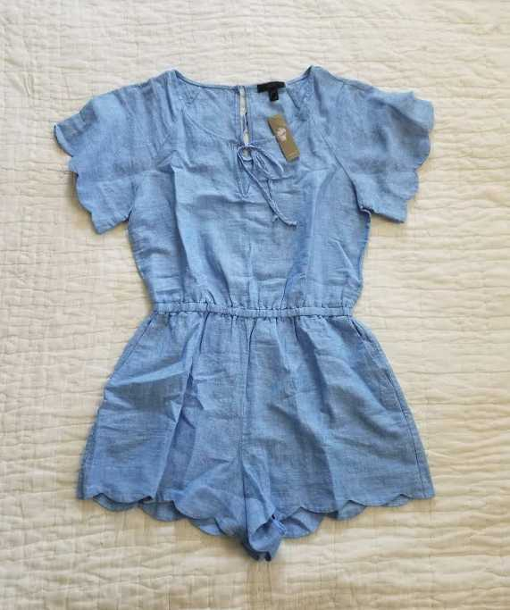 NEW WOMEN'S XS J CREW SCALLOPED COTTON-LINEN SHORTS ROMPER
